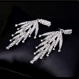 Jewelry - Silver Tone Crystal Flare Earrings.